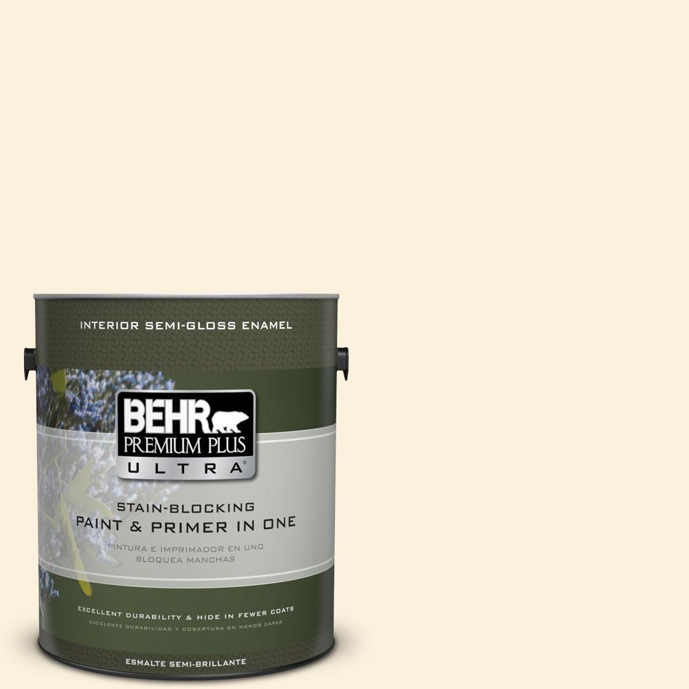 BEHR Premium Plus Ultra 1-gal. #320A-1 Eggnog Semi-Gloss Enamel Interior Paint