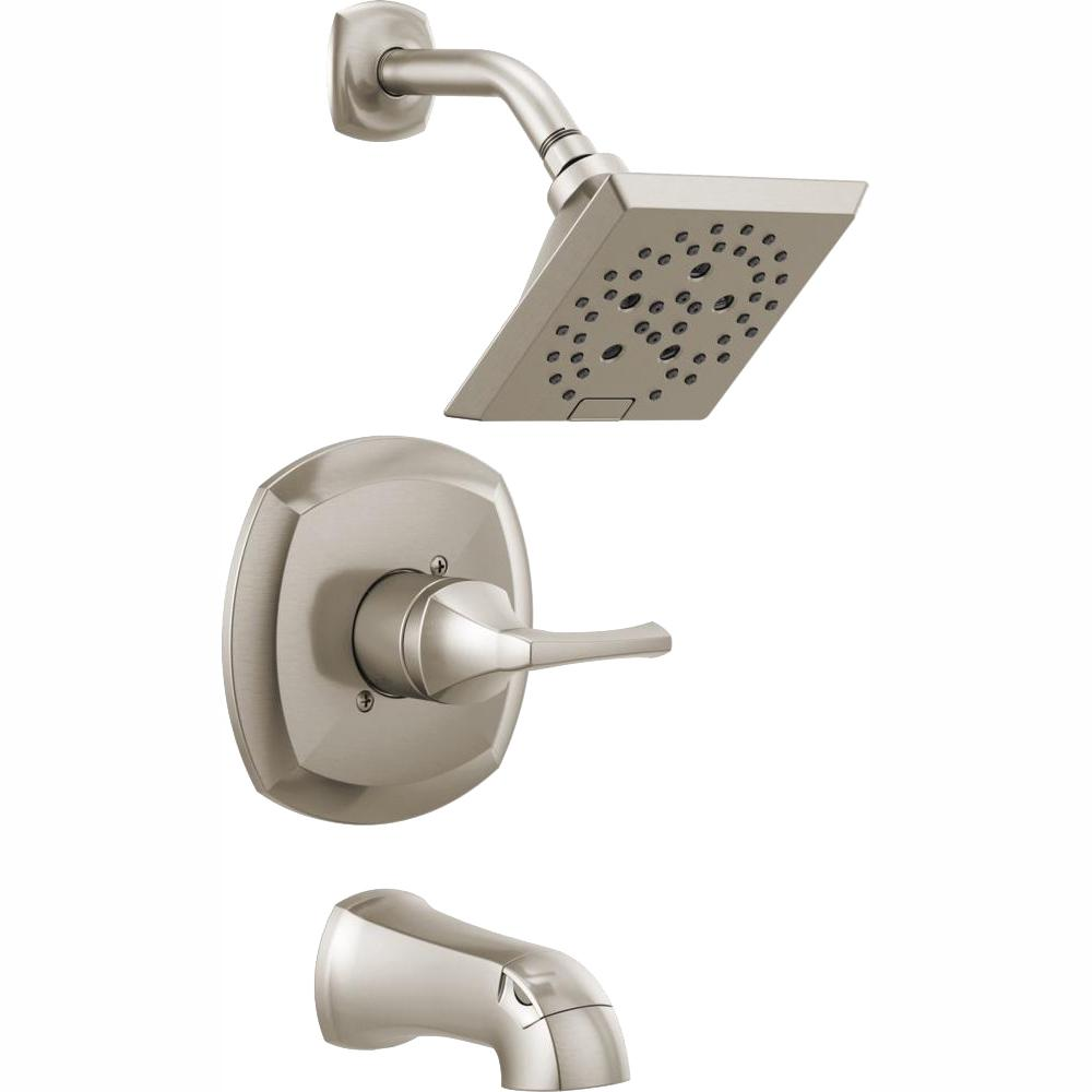 Delta Bathtub And Shower Faucets.Delta Portwood Single Handle 5 Spray Tub And Shower Faucet With H2okinetic In Spotshield Brushed Nickel Valve Included