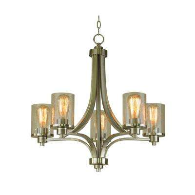 5-Light Satin Steel Chandelier with Seeded Glass Shade