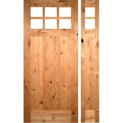 56 in. x 96 in. Craftsman 1 Panel 6-Lite Knotty Alder Unfinished Left-Hand Inswing Prehung Front Door Right Sidelite