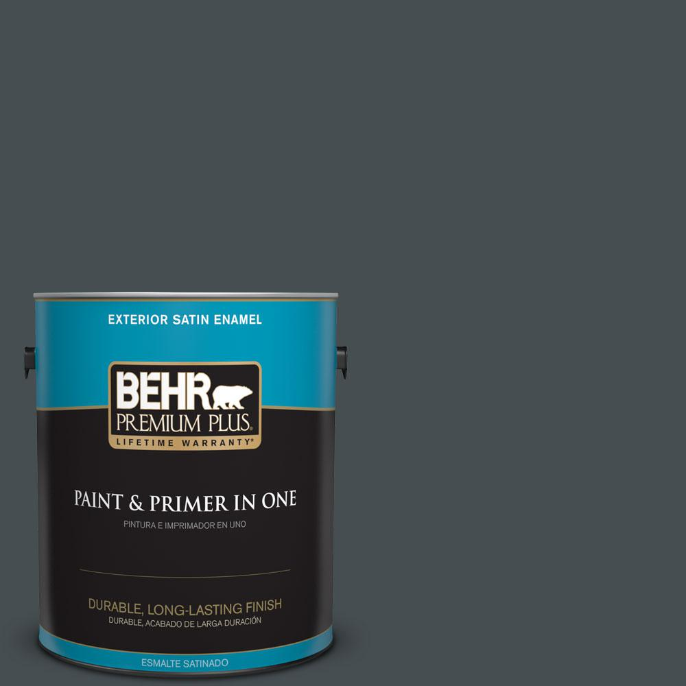 BEHR Premium Plus 1-gal. #720F-7 Dark as Night Satin Enamel Exterior Paint