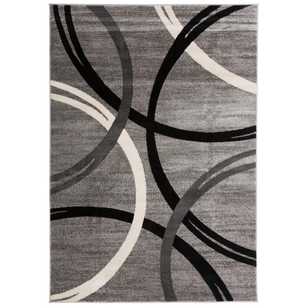 World Rug Gallery Modern Abstract Circles Gray 7 Ft 10 In X 2 Indoor Area