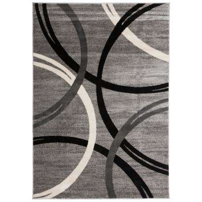 Modern Abstract Circles Gray 7 ft. 10 in. x 10 ft. 2 in. Indoor Area Rug