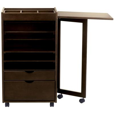 Stanton Chestnut Deluxe Wrapping Storage Cart (21.25 in. W)