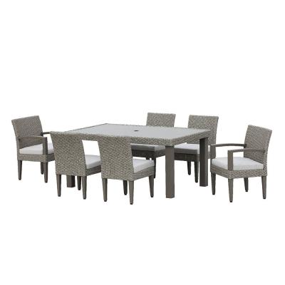 Sutton II Grey 7-piece Wicker Outdoor Dining Set with Light Gray Cushions