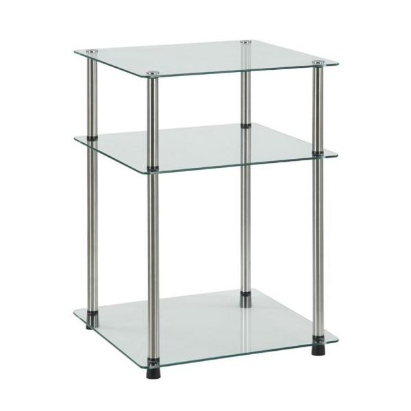 Designs2Go 3-Tier Glass End Table
