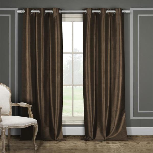 Daenerys 84 in. L x 38 in. W Polyester Faux Silk Curtain Panel in Chocolate (2-Pack)