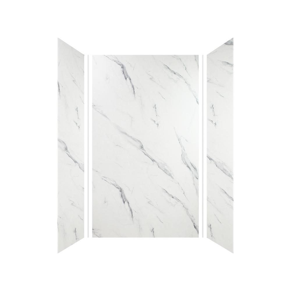 Transolid Expressions 36 in. x 42 in. x 72 in. 3-Piece Easy Up Adhesive Alcove Shower Wall Surround in Bianca
