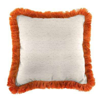 Sunbrella Frequency Parchment Square Outdoor Throw Pillow with Tuscan Fringe