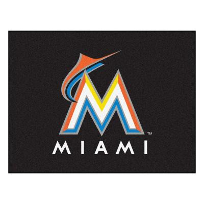 MLB Miami Marlins Black 3 ft. x 4 ft. Indoor Area Rug