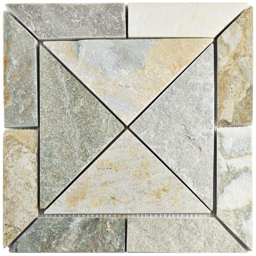 Shower floor natural stone mosaic tile tile the home depot crag vintage arizona quartzite dailygadgetfo Gallery