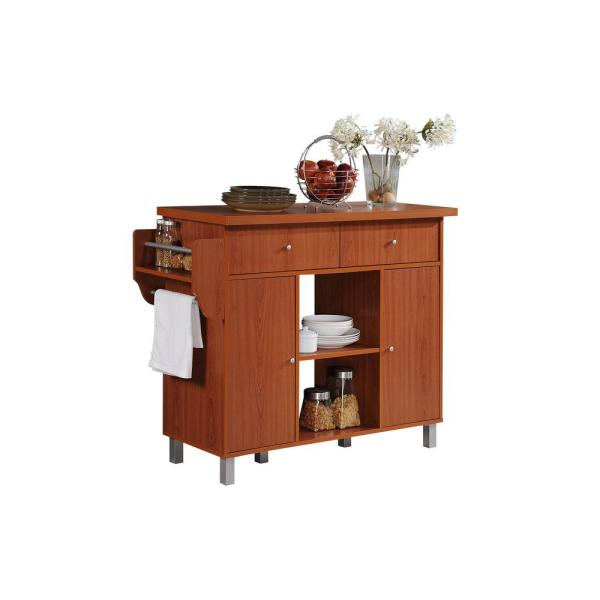 HODEDAH Kitchen Island Cherry with Spice Rack and Towel Holder