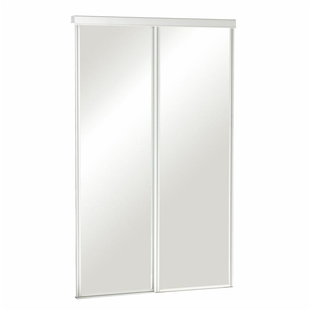 Pinecroft 72 in. x 80 in. Mirror 2-Panel Euroframe White Frame Aluminum Sliding Door