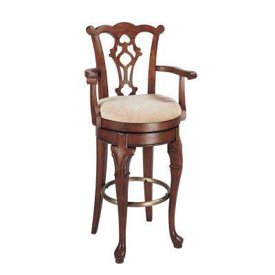 Jamestown 30.75 in. Deep Cherry Swivel Cushioned Bar Stool