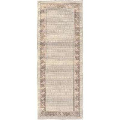 Summer Collection Bordered Design Natural Beige 3 ft. x 7 ft. Indoor/Outdoor Runner Rug