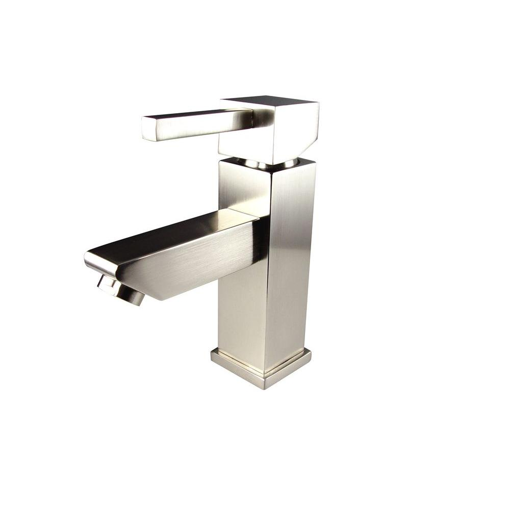 Fresca Versa Single Hole 1-Handle Low-Arc Bathroom Faucet in Brushed Nickel