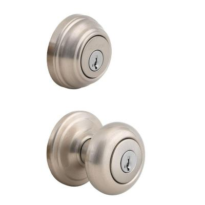 Juno Satin Nickel Exterior Entry Door Knob and Double Cylinder Deadbolt Combo Pack Featuring SmartKey Security