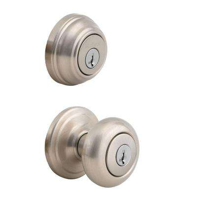 Juno Satin Nickel Exterior Entry Knob and Double Cylinder Deadbolt Combo Pack featuring SmartKey