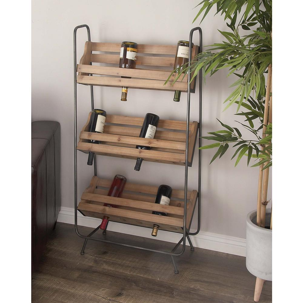 47 in. x 25 in. Rustic Wood and Iron Wine Rack