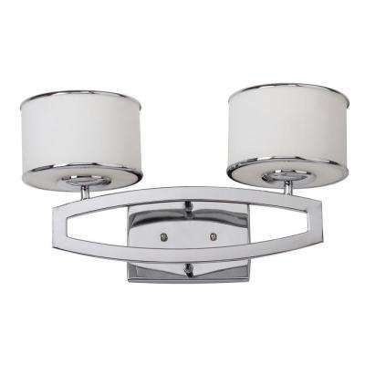 Lenora Double Drum 2-Light Chrome Sconce