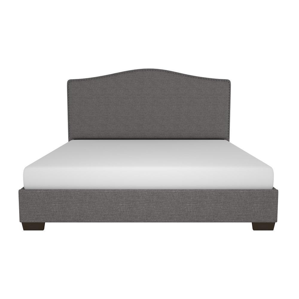 Gavin Upholstered Queen Size Bed Frame in Gray Linen