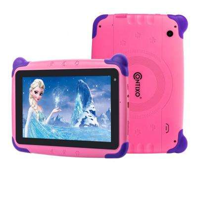 Kids Tablet K4 7 in. Display Android 6.0 Bluetooth Wi-Fi Camera Parental Control for Children Infant Toddlers in Pink