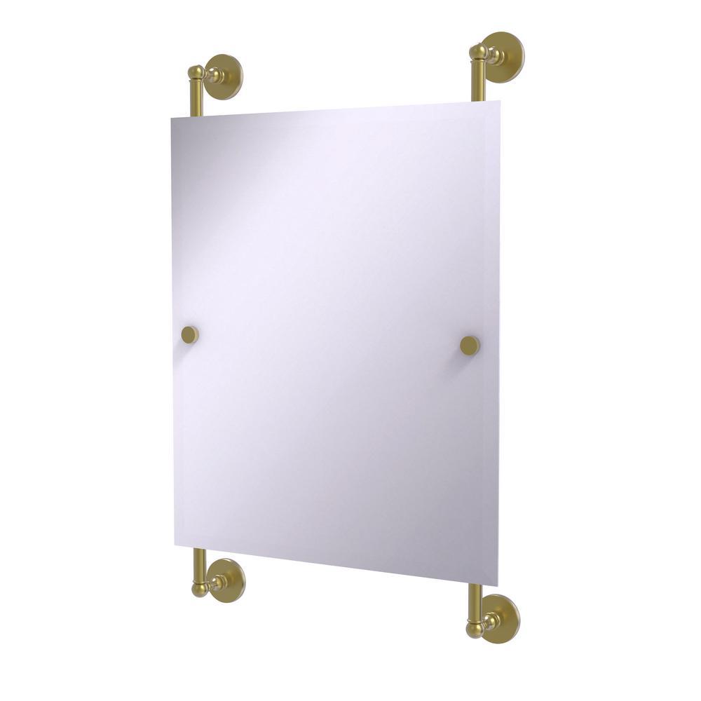 Prestige Skyline Collection Rectangular Frameless Rail Mounted Mirror in Satin Brass