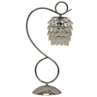 Dangles Crystal 19.25 in. Chrome Table Lamp with Faux Silk Shade