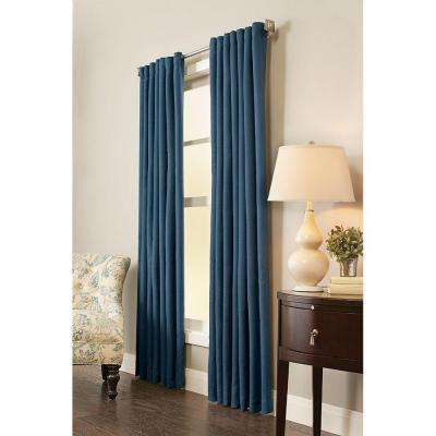 Semi-Opaque Indigo Room Darkening Back Tab Curtain - 54 in. W x 84 in. L (1-Panel)