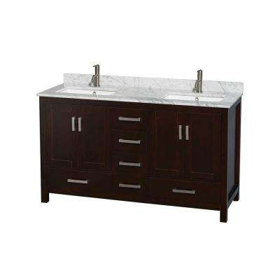 Sheffield 60 in. Double Vanity in Espresso with Marble Vanity Top in Carrara White