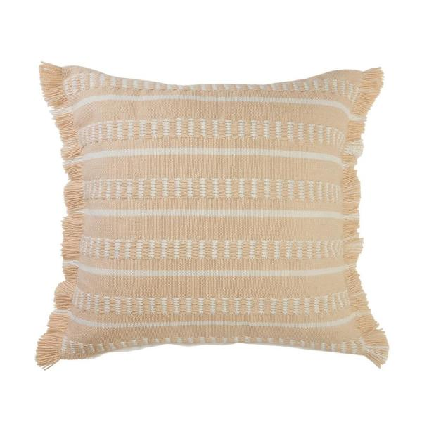 Dash Peach/White Square Striped Outdoor Throw Pillow with Fringe