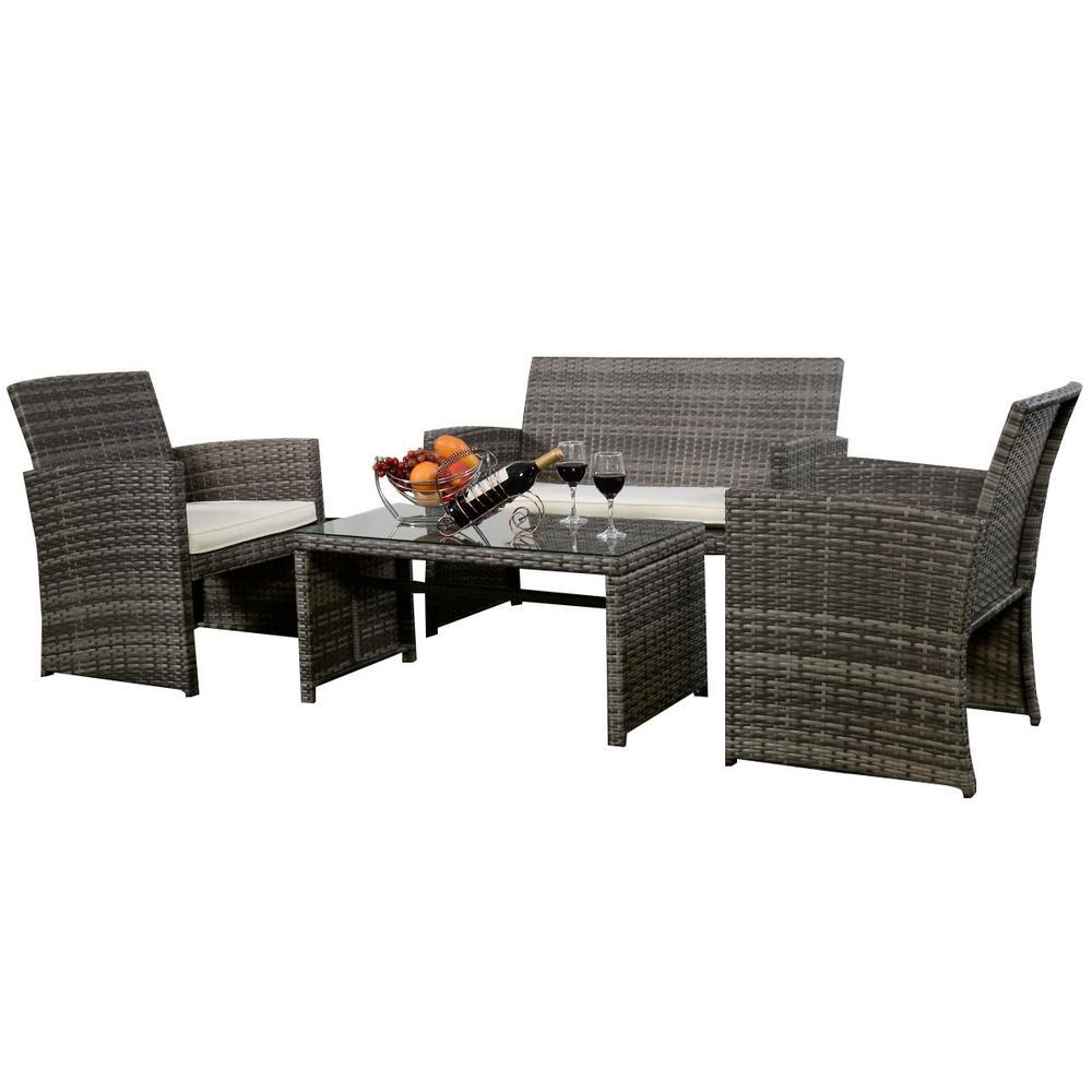 Costway Mix Gray 4 Piece Rattan Wicker Patio Conversation Set With Beige White Cushions Garden Lawn Furniture