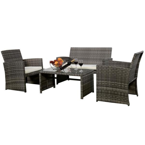 Mix Gray 4-Piece Rattan Wicker Patio Conversation Set with Beige White Cushions Garden Lawn Furniture
