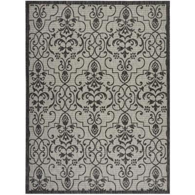 Garden Party Ivory/Charcoal 10 ft. x 13 ft. Medallion Transitional Indoor/Outdoor Area Rug