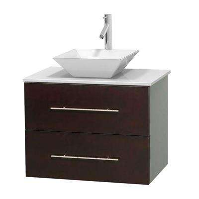 Centra 30 in. Vanity in Espresso with Solid-Surface Vanity Top in White and Porcelain Sink