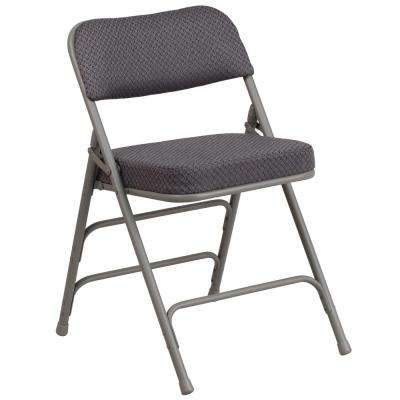 Hercules Series Premium Curved Triple Braced & Quad Hinged Gray Fabric Upholstered Metal Folding Chair