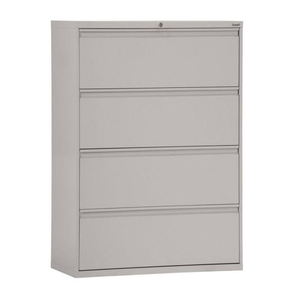 Sandusky 800 Series 30 in. W 4-Drawer Full Pull Lateral File Cabinet in Dove Gray