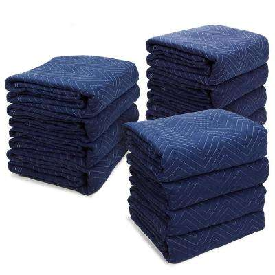 72 in. x 80 in. 65 lbs. Professional Heavy-Duty Non-Woven Padded Moving Blankets (12-Pack)