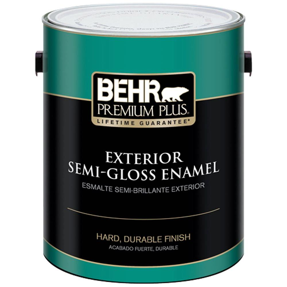 Behr premium plus 1 gal ultra pure white semi gloss enamel exterior paint 505001 the home depot for Behr exterior white paint colors