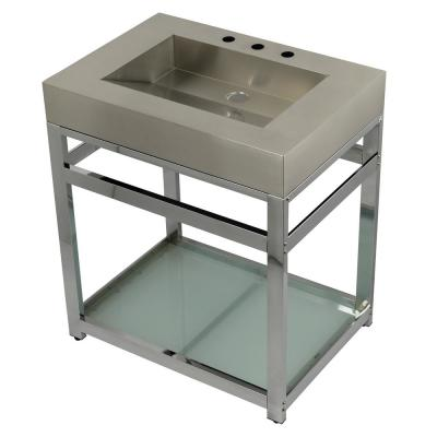 31 in. W Bath Vanity in Chrome with Stainless Steel Vanity Top in Silver with Silver Basin