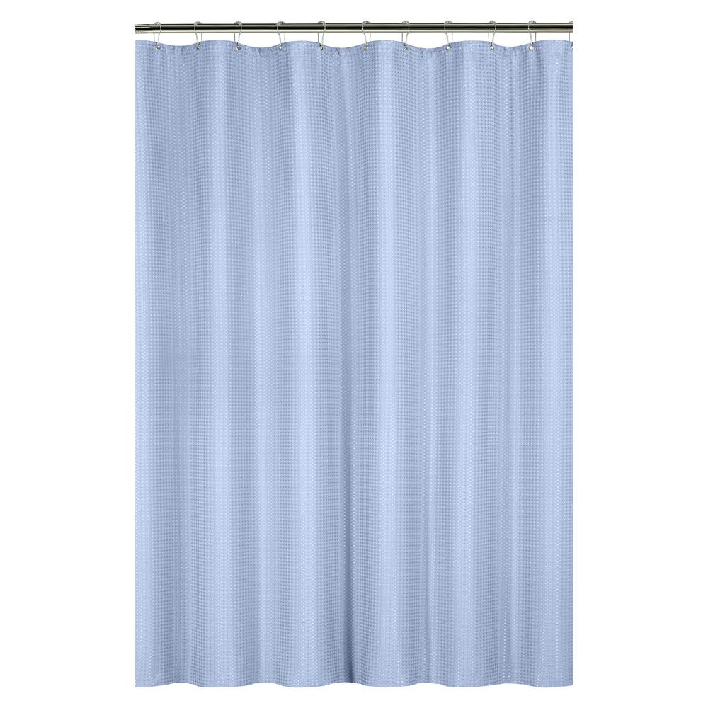 Bath Bliss Waffle Weave 72 in. Blue Shower Curtain with Metal ...