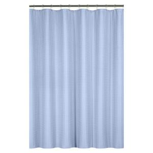 Bath Bliss Waffle Weave 72 inch Blue Shower Curtain with Metal Grommets by Bath Bliss