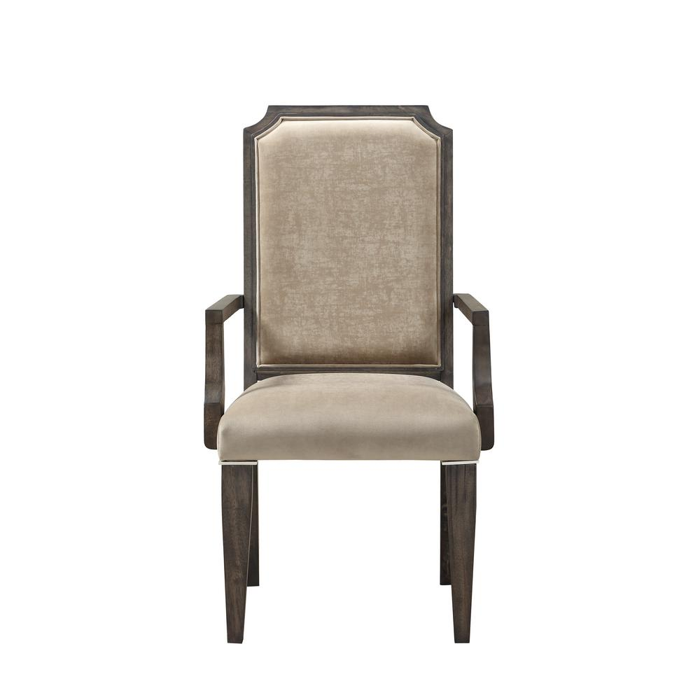 Fabric and Dark Brown Peregrine Arm Chair (Set of 2)
