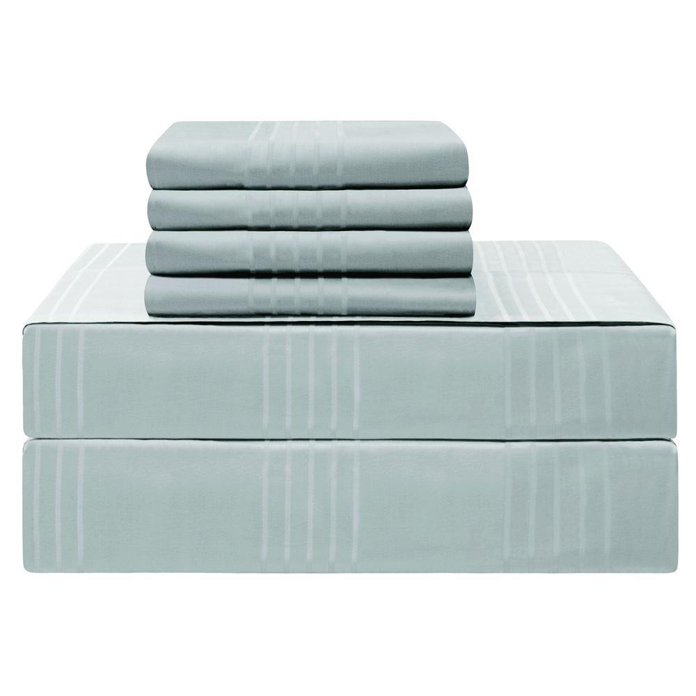 Premium Queen 6-Piece Spa Blue 420-Thread Count 100% Cotton Sheet Set