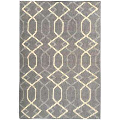Summer Collection Diamond Trellis Design Natural Mocha 5 ft. x 7 ft. Indoor/Outdoor Area Rug