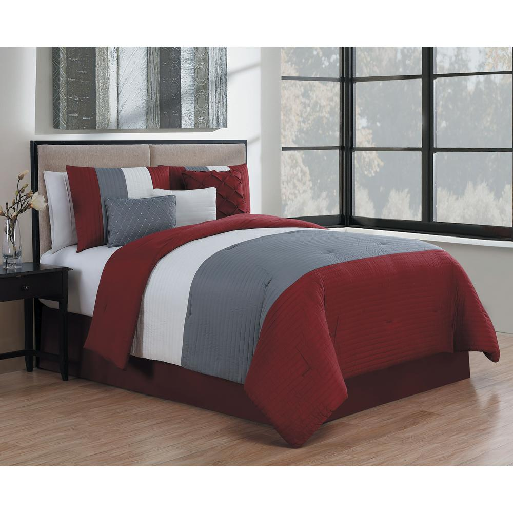 Manchester 7-Piece Burgundy and Grey and White King Comforter Set