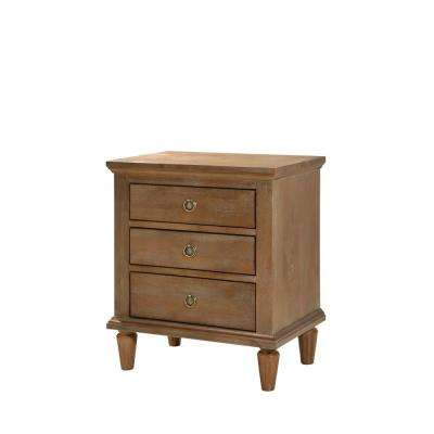 Cambridge 3-Drawers Oak Gray Wash Night Stand
