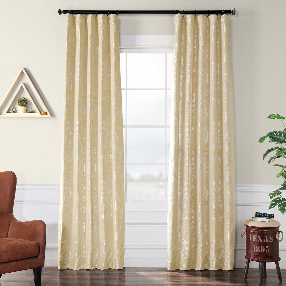 Gwendolyn Silver Flocked Faux Silk Curtain - 50 in. W x 120 in. L