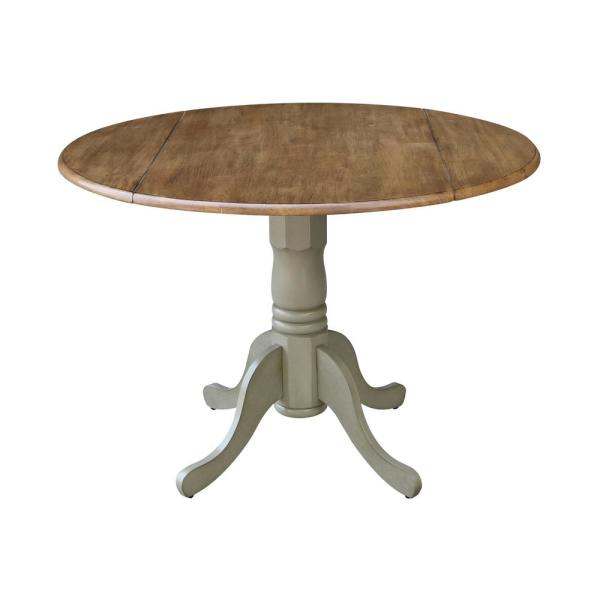 International Concepts Hickory Stone 42 In Round Dual Drop Leaf Pedestal Table T41 42dp The Home Depot