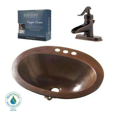 Pfister All-In-One Seville Copper Drop-In Bathroom Sink Design Kit with Ashfield 4 in. Centerset Faucet in Rustic Bronze